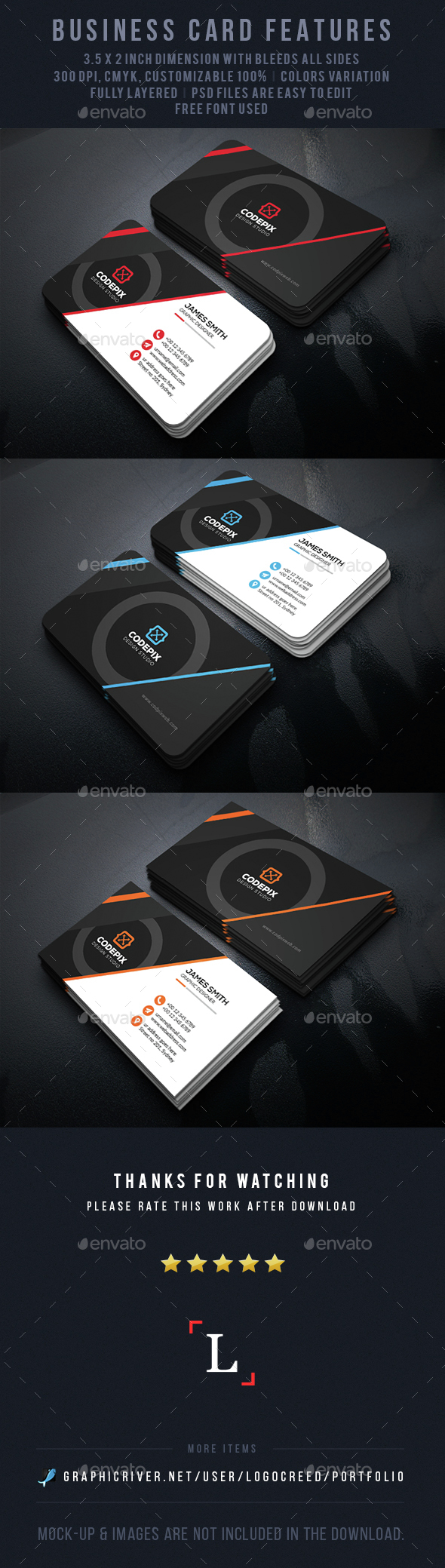 Circle Corporate Business Card - Business Cards Print Templates