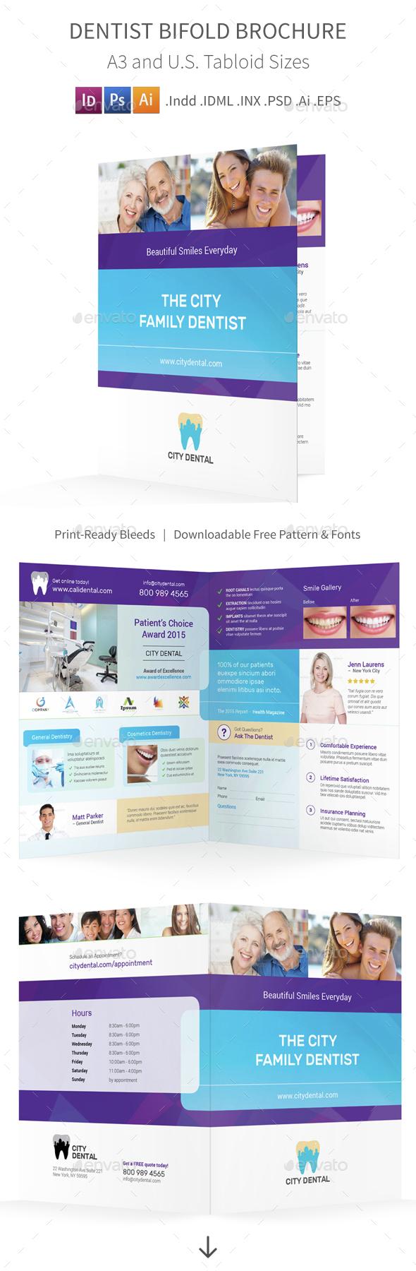 Dentist Bifold / Halffold Brochure 4 - Informational Brochures