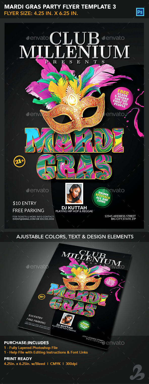Mardi Gras Party Flyer Template 3 - Events Flyers