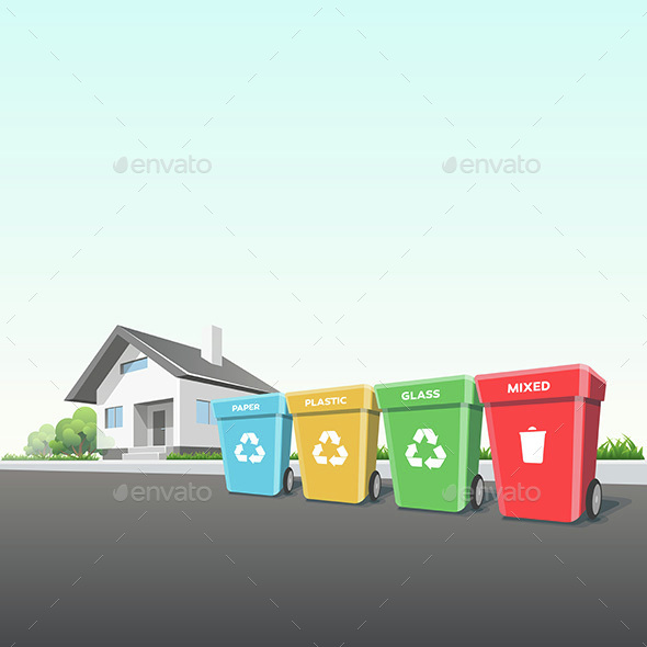Household Recycling Waste Bins Outside of a House - Concepts Business