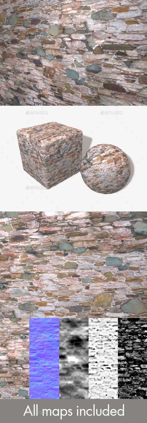 Colourful Rock Wall Seamless Texture - 3DOcean Item for Sale