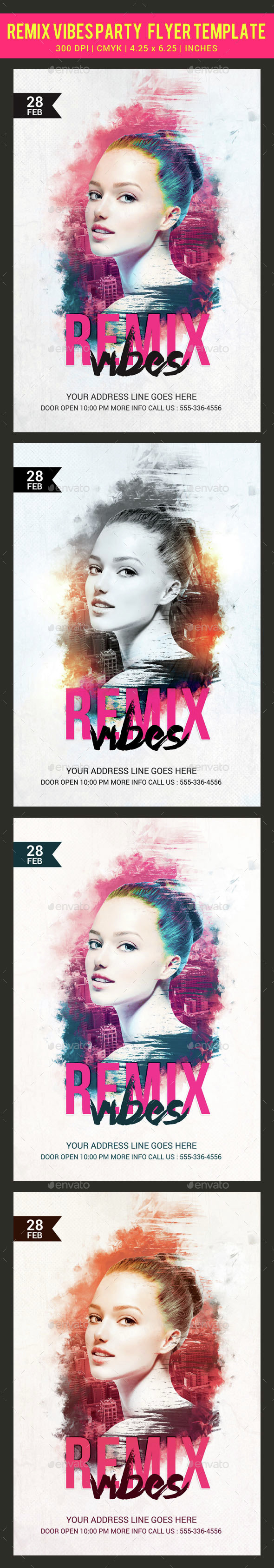 Remix Vibes Party Flyer Template - Clubs & Parties Events