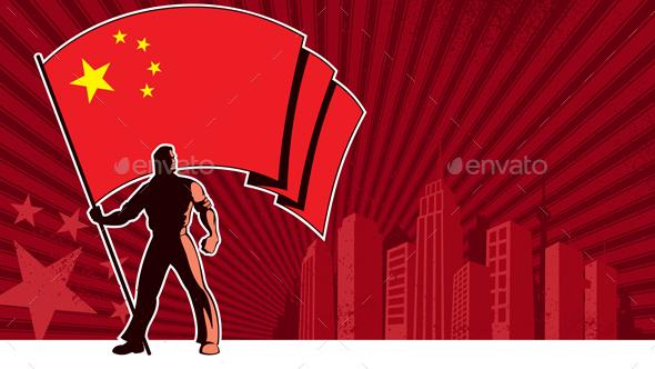 Flag Bearer China Background - Backgrounds Decorative