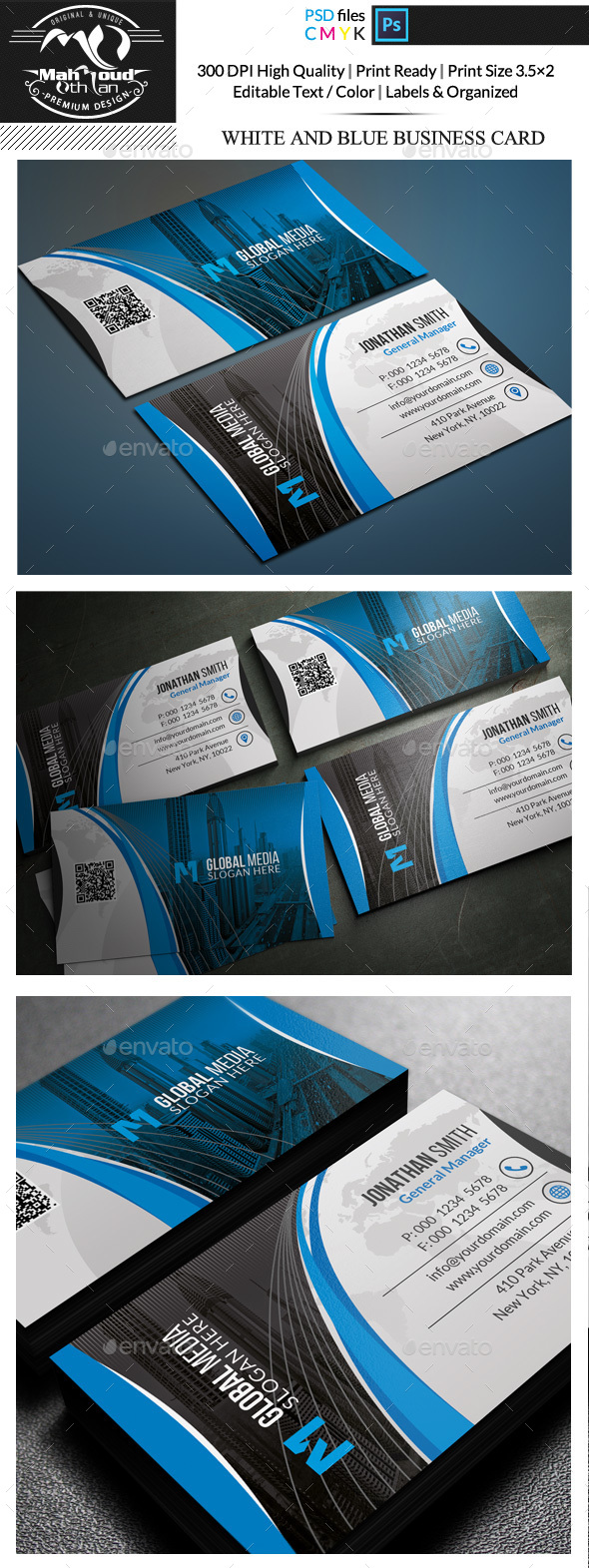 White And Blue Business Card - Corporate Business Cards