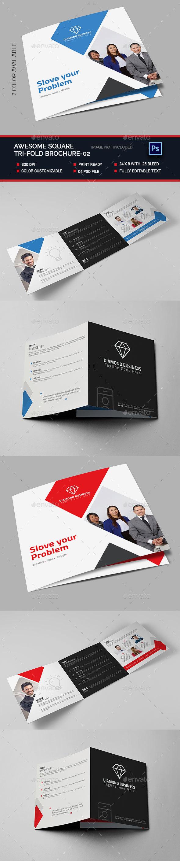 Square Tri-fold Brochure -02 - Brochures Print Templates