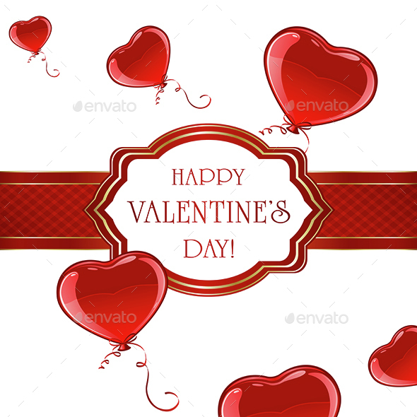 Valentines Card with Balloons - Valentines Seasons/Holidays