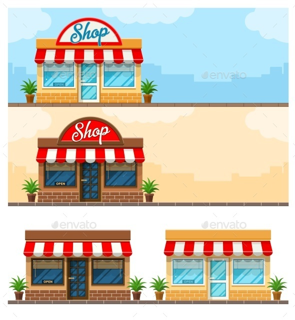 Facade Exterior Shop Flat DeSign with Sign - Buildings Objects
