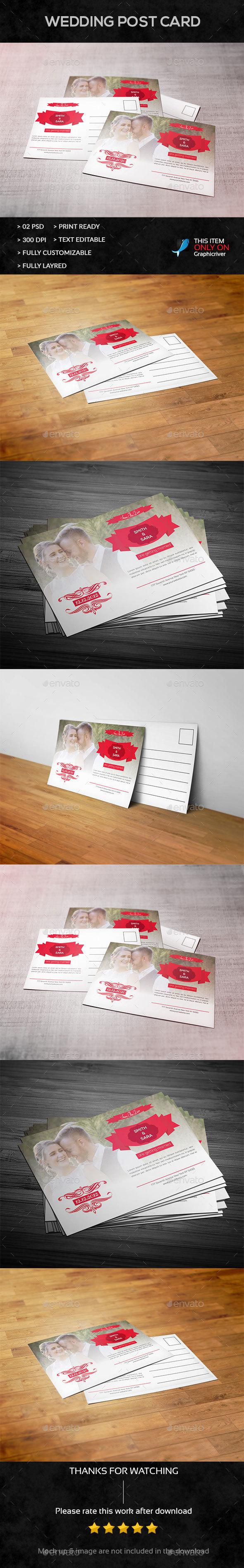 Wedding Post Card - Cards & Invites Print Templates