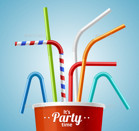 Drinking Straws and Cup Party Placecard or Flyer - Miscellaneous Seasons/Holidays
