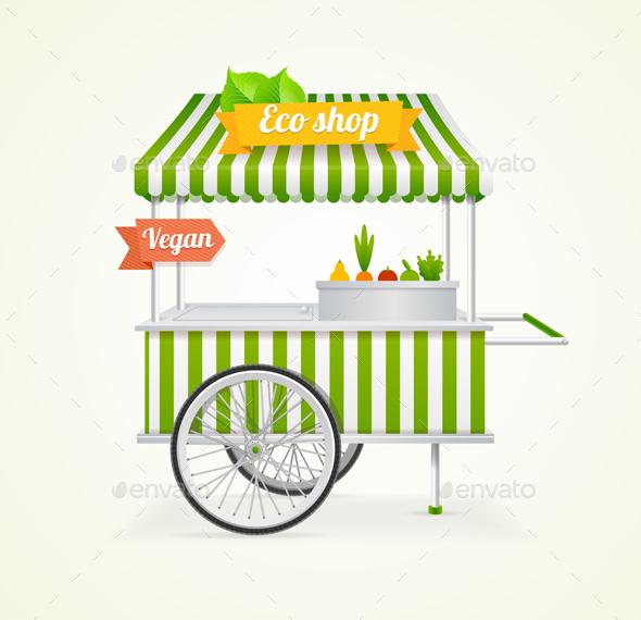 Vegetarian Shop Cart - Food Objects