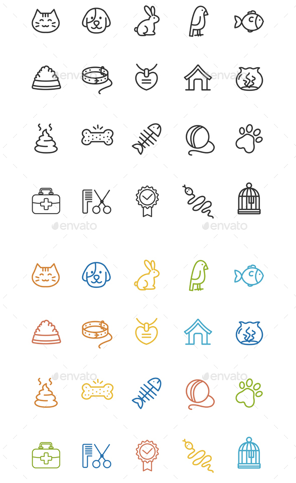 Pet Outline Icon Set - Web Technology