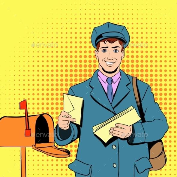 Comics Postman Holding Mail and Bag - Miscellaneous Vectors