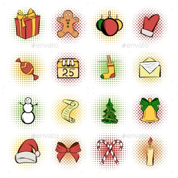Christmas Comics Icons Set - Miscellaneous Icons