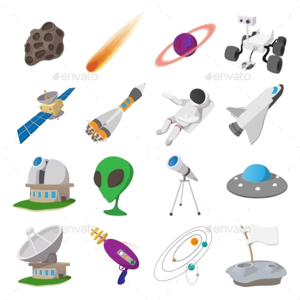 Space Cartoon Illustrations Set - Miscellaneous Icons