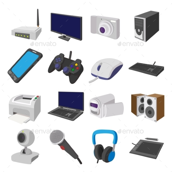 Technology And Devices Cartoon Icons Set - Miscellaneous Icons