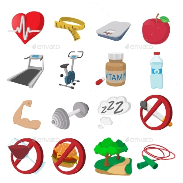 Healthy Lifestyle Cartoon Icons - Miscellaneous Icons