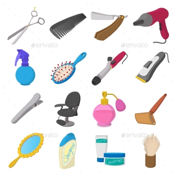 Barber Shop Cartoon Icons - Miscellaneous Icons