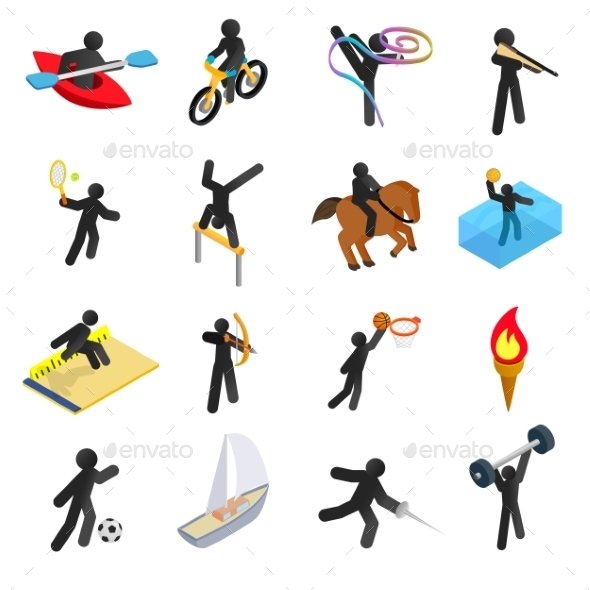 Summer Sports Isometric 3d Icons Set - Miscellaneous Icons