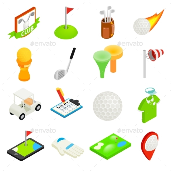 Golf Isometric 3d Icon Set - Miscellaneous Icons