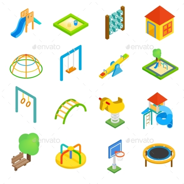 Playground Isometric 3d Icons - Miscellaneous Icons