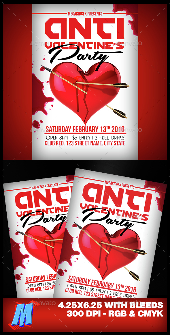Anti Valentines Party Flyer Template - Clubs & Parties Events