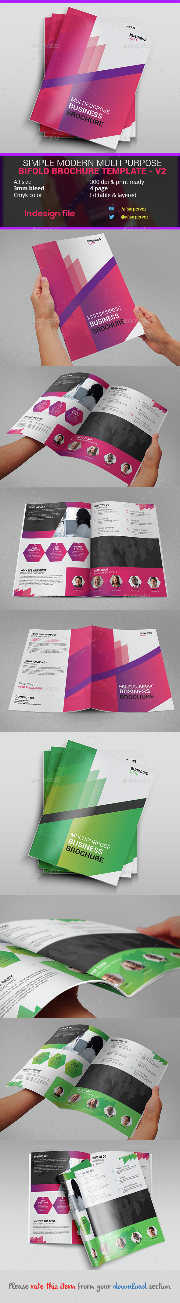 Simple Modern Multipurpose Bifold Brochure Template – V2 - Corporate Brochures