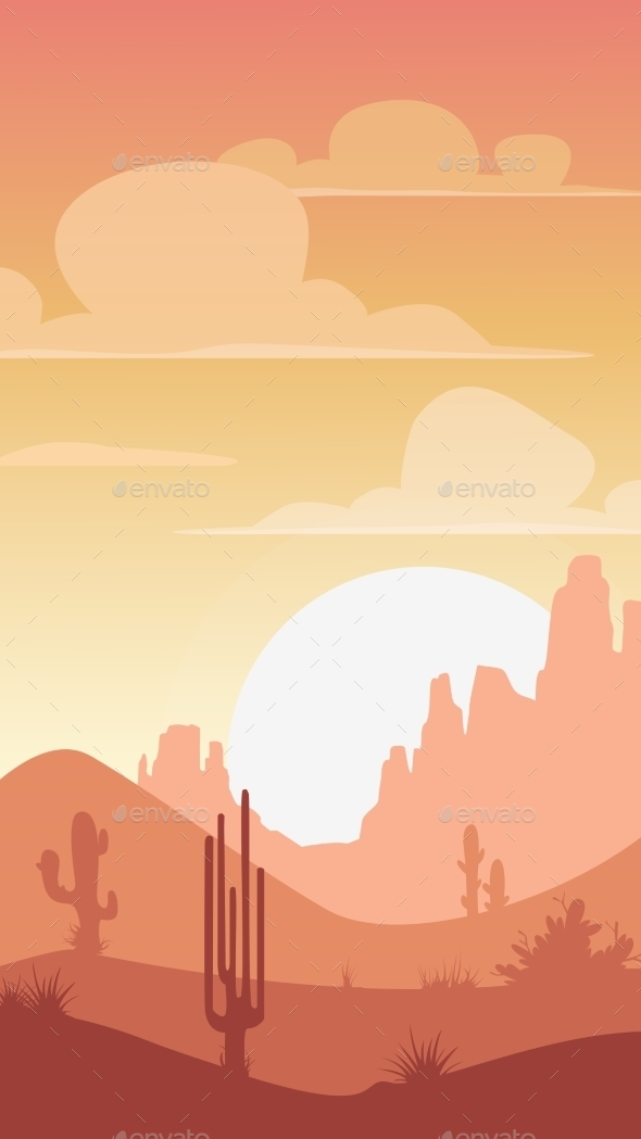 Cartoon Desert Landscape - Landscapes Nature