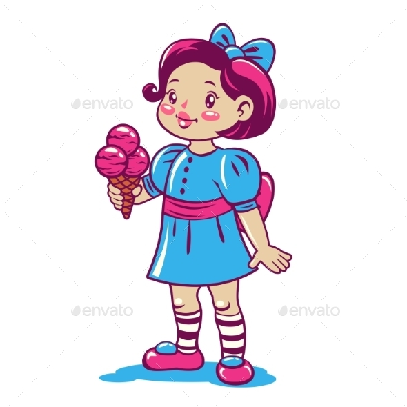 Cartoon Little Girl with Ice Cream - People Characters