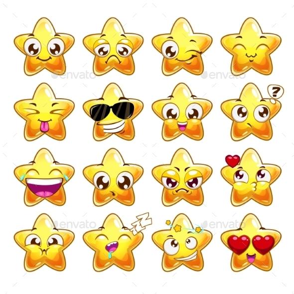 Cartoon Star Character Emotions Set - Miscellaneous Vectors
