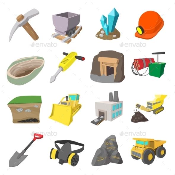 Mining Icons Cartoon Set  - Miscellaneous Icons