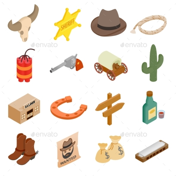 Wild West Cowboy Isometric 3d Icons  - Miscellaneous Icons