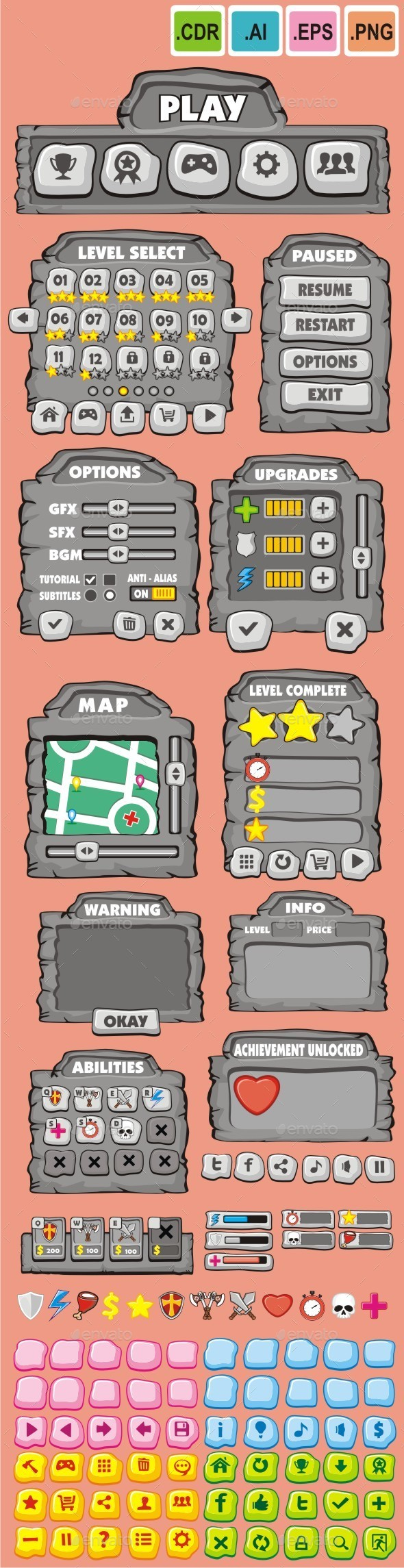 cartoon game gui pack 6 - User Interfaces Game Assets