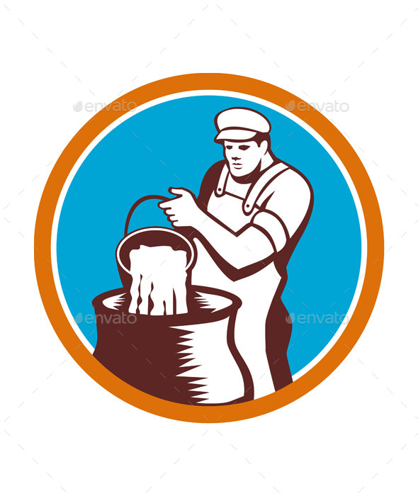 Cheesemaker Pouring Bucket Curd Circle Woodcut - People Characters