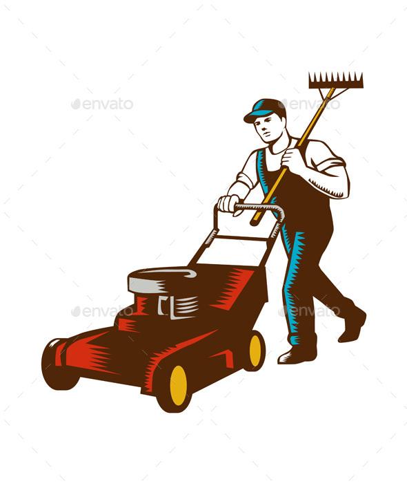 Gardener Lawn Mower Rake Woodcut - People Characters