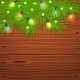 Christmas Tree Branches and Light Bulbs on Wood - GraphicRiver Item for Sale