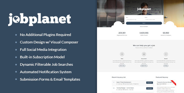 Jobplanet – Responsive Job Board WordPress Themes