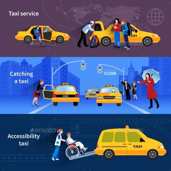Banners Set of Taxi Service - Services Commercial / Shopping