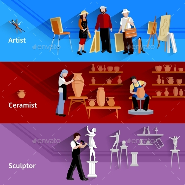 Artist Ceramist Sculptor Banners - People Characters