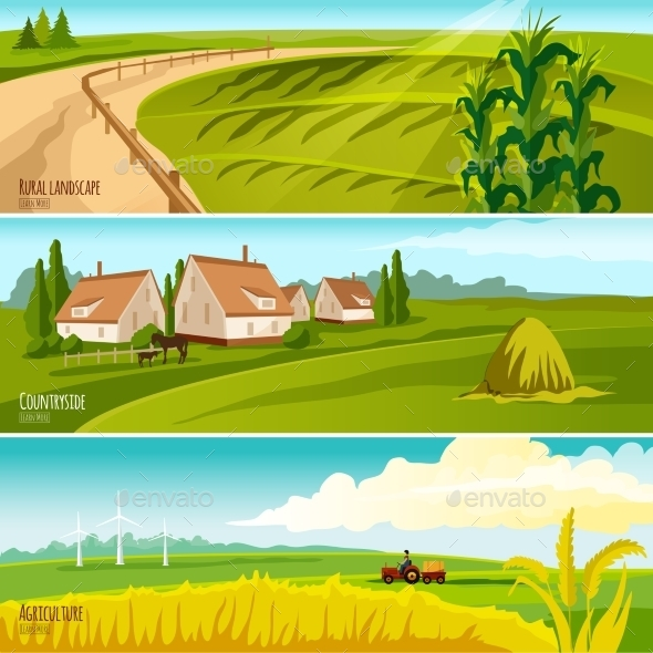 Countryside 3  Horizontal Flat Banners Set   - Landscapes Nature