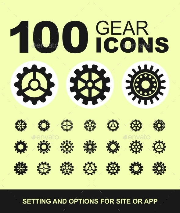 Gear icons. Options and settings. - Web Icons
