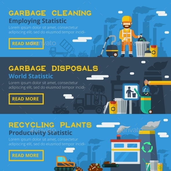 Garbage Recycling Horizontal Banners Set  - Backgrounds Business
