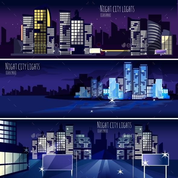 City Nightcape 3 Banners Set - Backgrounds Decorative