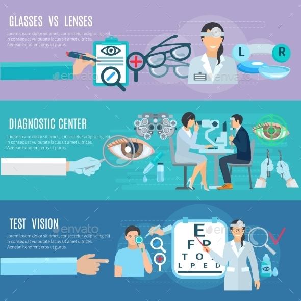 Oculist Diagnostic Center Flat Banners Set - Health/Medicine Conceptual