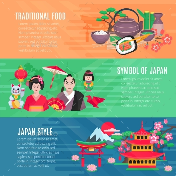 Japanese Life Style  Horizontal Banners Set  - Travel Conceptual