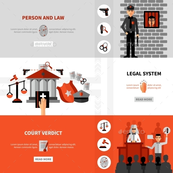 Legal Law System Flat Banners Set - Miscellaneous Conceptual
