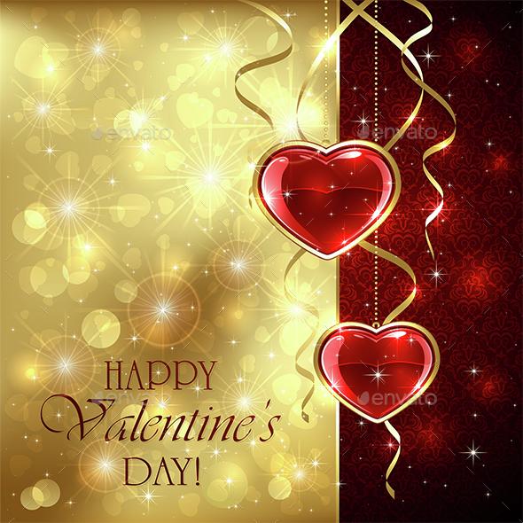 Valentines Hearts on Golden Background - Valentines Seasons/Holidays