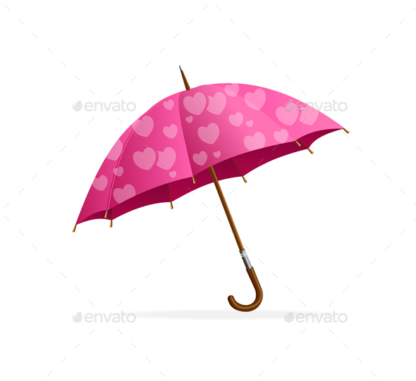 Pink Heart Umbrella - Valentines Seasons/Holidays
