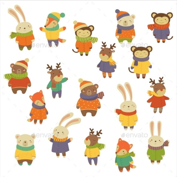 Animals Wearing Warm Clothes - Animals Characters