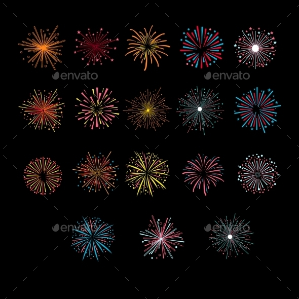 Festive Golden Firework Salute Burst - Decorative Symbols Decorative