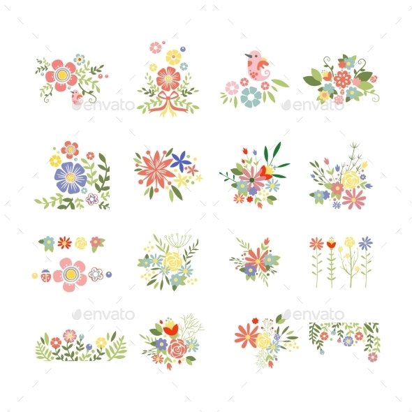 Flowers Icon Set - Decorative Symbols Decorative